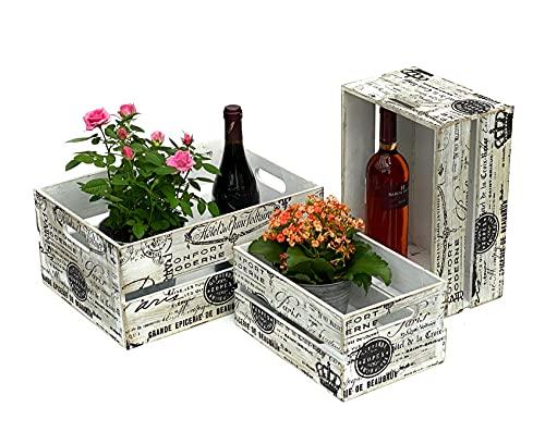 DanDiBo Juego de 3 cajas de madera vintage de 30 a 40 cm, caja de vino antigua, decoración de madera, color blanco y negro, con patrón para plantas