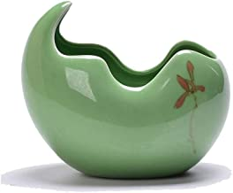 LJBH Creative Ceramic Hydroponic Flower Pot, Office Desktop Potted Flower Pot, Multi-meat Bamboo Copper Money Grass Green Narcissus Flower Pot Exquisite workmanship, sturdy and durable