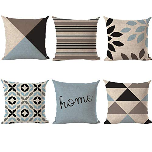 Vlunt 6er Set Leinen zierkissenbezüge 45x45 cm, Liniengeometrie Muster Zierkissenhülle Dekorative Kissenbezug Für Sofa Büro