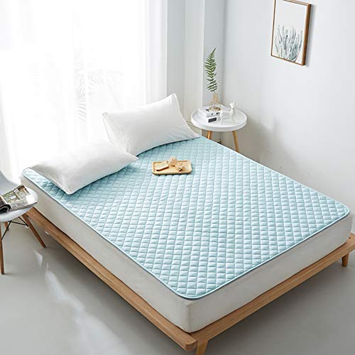 MYYU Colchón Futón Tatami Colchoneta Japoné Colchón Suave Plegable Sleeping Pad Tatami De Piso Respirable,Azul,150 * 200cm