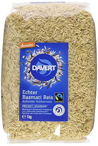 Davert Echter Basmati Reis braun, 2er Pack (2x 1 kg) - Bio