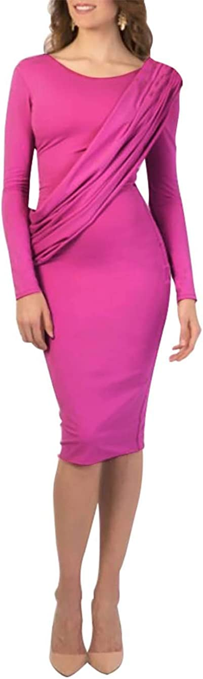 Guyay Women's Dress Short Sleeve Solid Color Casual Pencil Slim Business Dress