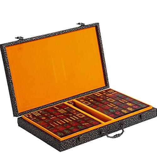 DUOER home-Mahjongg Set Top-Qualität Spiele 144 Fliesen Multi-Color Portable Vintage Mahjong seltene chinesische Spielzeug mit Box Party Geschenke