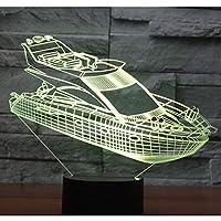 家の装飾ランプのための16色のライトを備えた3D LEDナイトライト船ヨット素晴らしい視覚化錯覚素晴らしい