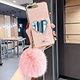 Makeup Mirror Mobile Phone Case, Luxurious Bling Heart-Shaped Mirror Phone Case for iPhone (for iPhone 12pro max,Pink)