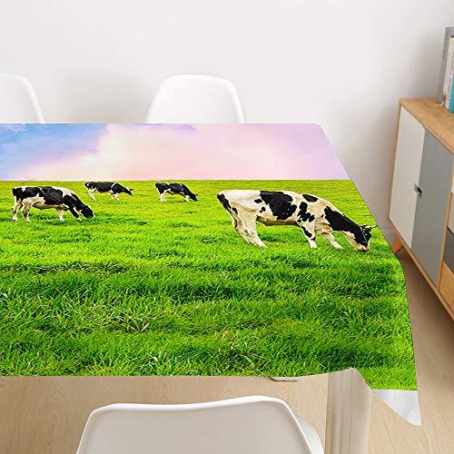 Tischdecke Abwaschbar, Morbuy 3D Tier Tischtuch Rechteckig Tischwäsche Gartentischdecke Outdoor Tischdekoration Wasserdicht Polyester Ölfest Pflegeleicht (Kühe,140x260cm)