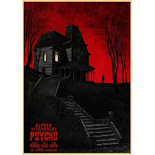 JQQBL Poster Alfred Hitchcock\'S Psycho Horror Film Retro Art Poster Carta da Parati ad Alta Definizione Sticker Room Decor Canvas Painting Wall Picture 50 * 70Cm Frameless