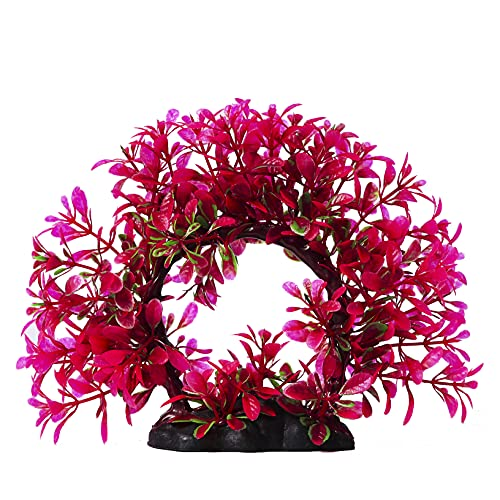 Fish Tank Accessories Aquarium Decorations Plants Artificial Seaweed Water Plants , Fish Tank Plant Decorations for Household Office 6.6 inches Tall Rose Red