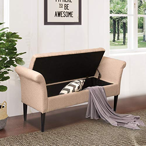 Modern Upholstered Storage Ottoman Bench for Bedroom Entryway Hallway Living Room Fabric Storage Bench