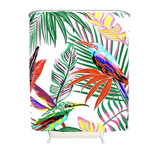 CATNEZA Duschvorhang - Palmenblätter Design Lustig Leicht zu reinigen -Tropische Pflanzen Gardinen Haken Enthalten White 200x200cm