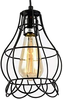 LXG-led Industrial Pendant Lighting Vintage Ceiling lamp Black cage Chandelier Wrought Iron E27 Base 39.4in line Adjustable 110V Hanging Lamps for Living Room Bedroom