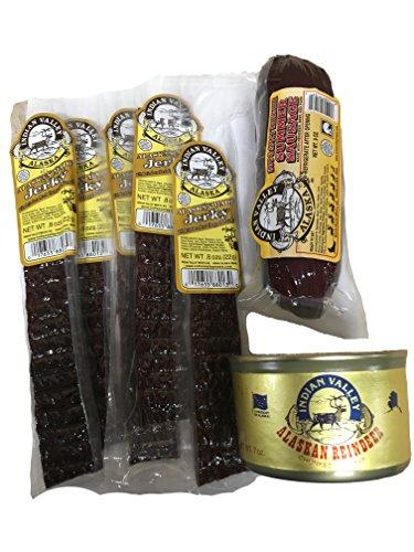 Reindeer Meat Gift Pack Sampler (7 Pack) Reindeer Jerky, Reindeer Sausage and Canned Reindeer