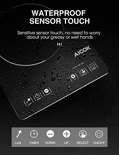AICOK Placa de Inducción Portátil Full Crystal con 2000 W, 10 niveles de Potencia, Temporizador de 3 horas y Bloqueo de Seguridad, Control Táctil, Delgado de 5 cm y Programable