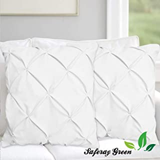 White Pinch Pleated - Pintuck Pillow Shams Set of 2pc - Hotel Luxury - 850-TC 100% Organic Cotton Cushion Cover Square Size 18x18