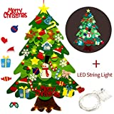 Outgeek Fieltro Árbol de Navidad, 3.2ft DIY Christmas Hanging Tree Set con 50 Luces LED 32 Piezas...