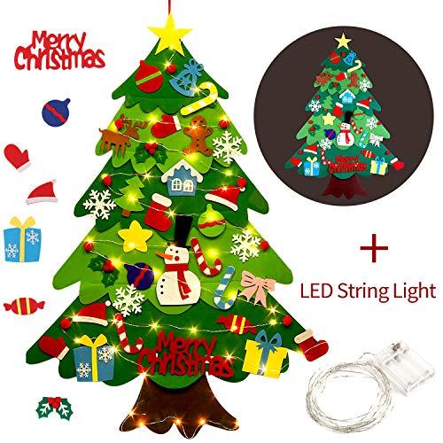 Outgeek Fieltro Árbol de Navidad, 3.2ft DIY Christmas Hanging Tree Set con 50 Luces LED 32 Piezas Adornos Árbol de Navidad para niños Decoración de la Pared de la Puerta del hogar