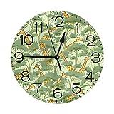 放牧キリン 壁掛け時計 おしゃれ デジタル ミュート 円形 掛け時計 置き時計 目覚まし時計 インテリア 装飾
