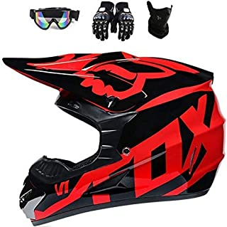 Fox Full Face MTB Helmet, Children and Adults, Motocross Helmet Set, Protective Goggles, Mask, Gloves with ABS Shell, Safety Standard DOT