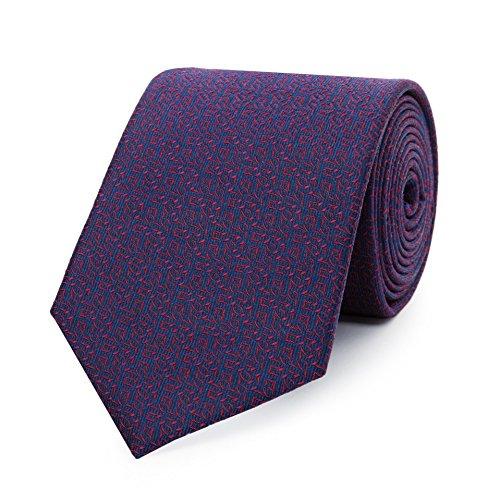 Bruce Field - Cravate bleue en soie à micro motifs rouge stylisés