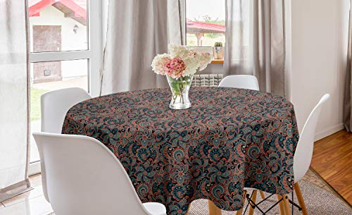 ABAKUHAUS persisch Runde Tischdecke, Oriental Paisley-Motiv, Kreis Tischdecke Abdeckung für Esszimmer Küche Dekoration, 150 cm, Mehrfarbig