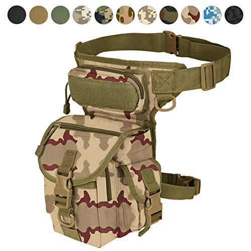 Sac à jambière militaire tactique avec accessoire de cuisse pour paintball Airsoft moto équitation Thermite Versipack Noir/tan/vert armée/camouflage7 couleurs, Camouflage sable