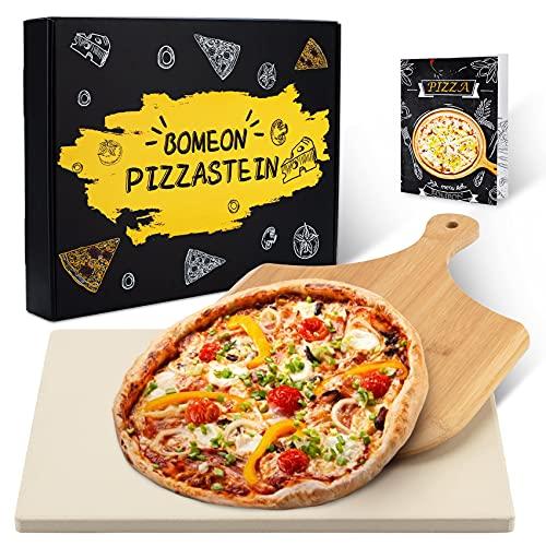 BOMEON Pizzastein für Backofen und Gasgrill, Küchen Zubehör Pizzastein Grill Stein Pizzasschieber - Schamottstein Pizzastein aus Cordierit für Backofen, grillzubehör, Bambus Pizzaschaufel.