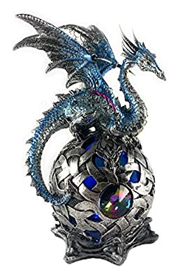 Aint it Nice Dragon Figurine Blue On Light Up LED Orb Collectible Fantasy Figurine Statue Décor, 8X4X4 inches