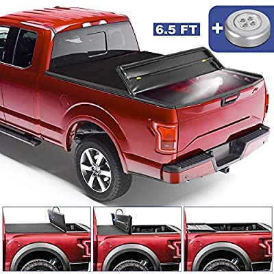 MOSTPLUS Quad Fold 6.5 FT Soft Folding Truck Tonneau Cover Compatible for 2004 2005 2006 2007 2008 Ford F150 F-150 (Excl. 2004 Heritage) Styleside Four Fold On Top