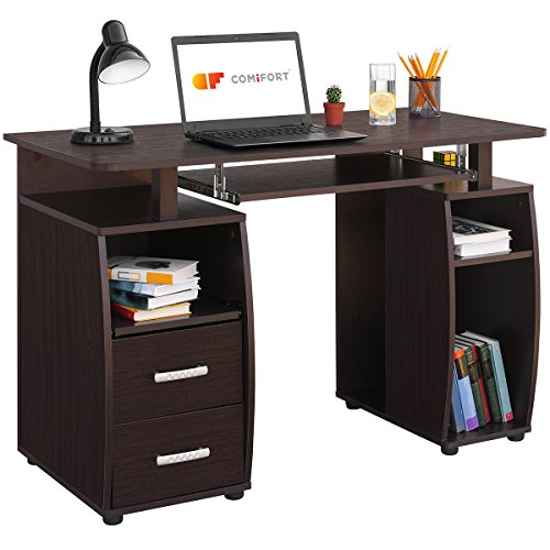 Comifort Mesa de Ordenador, Escritorio, Mesa de Oficina, 115x55x76 cm (WENGUÉ)