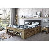 roominado Cama futón Sabrina con cabecero acolchado de roble, 180 x 200 cm, incluye repisa para los pies