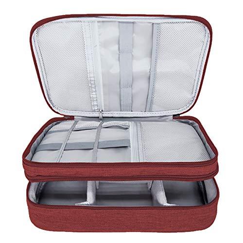 Ruberg Kabel Organizer Tasche Wasserdicht Kabeltasche Groß Festplattentasche Elektronische Tasche Doppelschicht Elektro Organizer Cable Bag Elektronik Zubehör Organisator Kabel Power Bank Rot