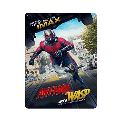 """Cartel retro de metal con diseño de hormigas y avispas, diseño de bandera de metal con texto en inglés """"Ant Man And The Wasp"""", diseño retro con texto """"Gente cueva"""" para decorar la pared 40 x 30 cm"""