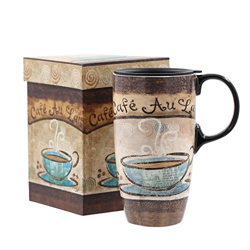 Topadorn Tall Ceramic Travel Mugs 17 oz. Sealed Lid With Color Box and Handle Coffee Cup, Cafe
