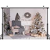 LYWYGG 7x5FT Feliz Navidad Árbol de Navidad Regalo Telón de Fondo Blanco Escena Cálida Fondo de Vinilo Fotografía Telón de Fondo para la Celebración de Navidad Partido Estudio Apoyos CP-74