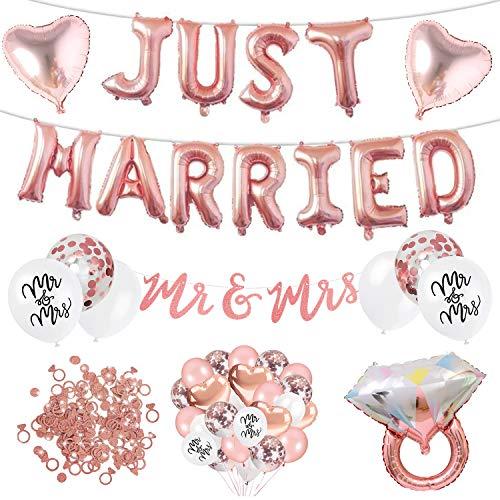 Just Married Deko XXL Set - 59 Teile - Hochzeit Dekoration - Mr to Mrs Girlande, Ballons, Tischdeko, Heirat - rose, weiß