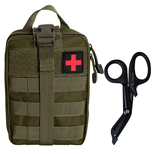KrisVie Pochette EMT Médecine Tactique Sac étanche Molle de Premiers Secours, Trousse Kit de Premiers Soins Militaires pour Randonnée Camping Airsoft avec Un Ciseaux médical (Vert)