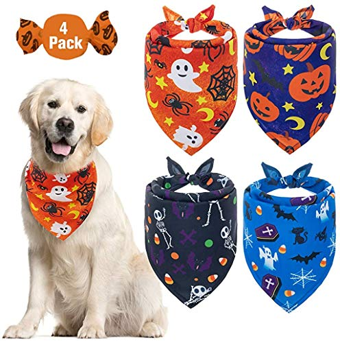 EXPAWLORER Halloween Dog Bandana Triangle Bibs with Pumpkin Bat Spider Ghost Pattern Washable Scarf Accessories