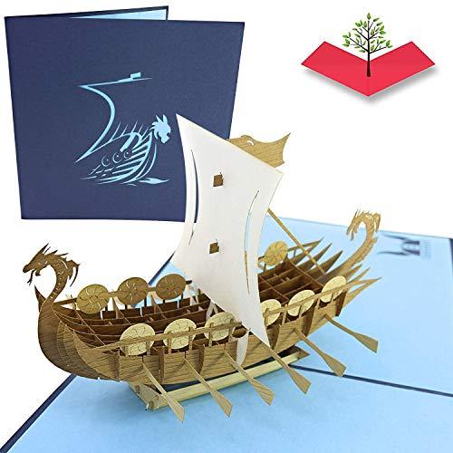 PopLife Cards Norse Wikinger Schiff Popup Vatertag Karte für alle Gelegenheiten Vatertag, alles Gute zum Geburtstag, Abschluss, Ruhestand, Jubiläum Reisende, Krieger, Geschichte Liebhaber Falten flac