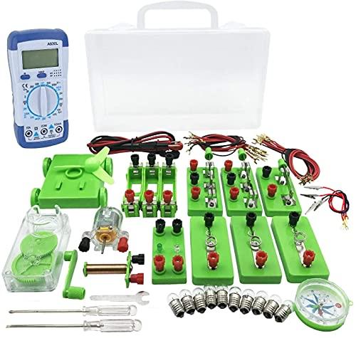 AW-Net 小学生 理科 電気実験キット 豆電球実験セット 直列 並列 回路 電磁石 ケース 付き (B.テスターあり)