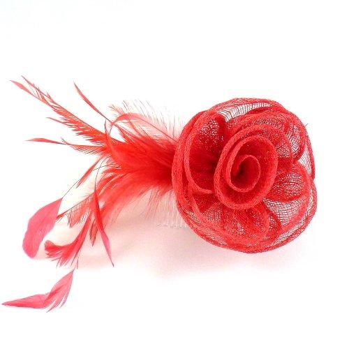 rougecaramel - Accessoires cheveux - Peigne de côté fleur en sisal pour mariage et cérémonies - corail