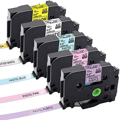 Aken kompatibel Schriftband als Ersatz für Brother TZe TZ Tape Cassette 12mm, laminated Schriftband für Brother P-touch H105 1010 H100R E110 D200 1000 D400 - Schwarz auf Weiß, Gelb, Lila, Pink, Blau