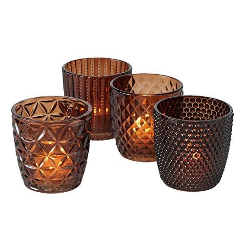 Glas Leuchter Kerzenleuchter Windlichter Teelichthalter 4er Set Sortiert braun H8cm D7cm