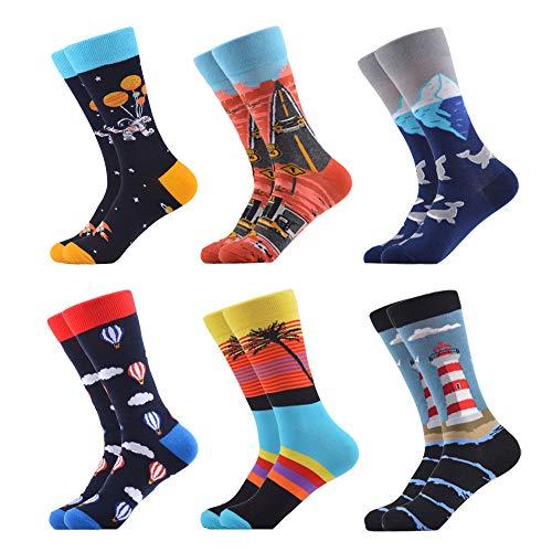 WeciBor Calcetines para hombre, multicolor, informales, estampados, de algodón peinado, divertidos calcetines Crew 6 Pares Doble Pattern S L