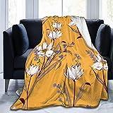 Searster$ Fleece Blanket Florales Florales Flores Blancas Motivos botánicos dispersos al Azar cálida y Ultra Suave Manta de vellón Micro para Cama sofá Camping 50x40in