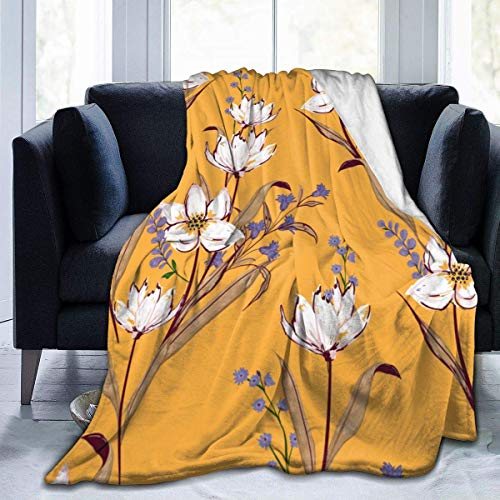 Searster$ Fleece Blanket Floreale Floreale In Fiore Bianco Motivi Botanici Sparsi Casuali Micro Coperta Calda E Ultra Morbida In Pile Per Divano Letto Da Campeggio 50X40In