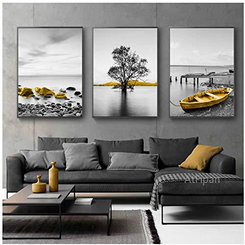 Muzimuzili gelber Retro-Landschaft am Meer Landschaft Poster Angeln nordisches Boot Meereslandschaft Leinwand Gemälde Wandkunst Bild für Wohnzimmer Heimdekoration - 50 x 70 cm x 3 Stück ungerahmt