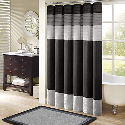 Madison Park Amherst Bathroom Shower Faux Silk Pieced Modern Microfiber Bath Curtains, 72X72 Inches, Black