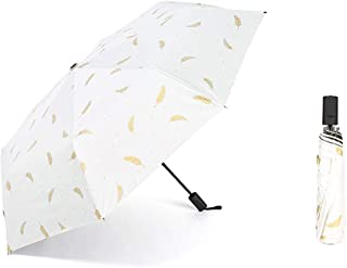 Small Fresh Feather Umbrella Three Fold Vinyl Umbrella Anti-Ultraviolet Sun Umbrella Personality Creative Umbrella,White