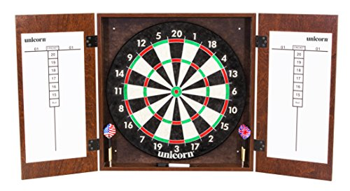 Unicorn Brighton Bristle Dartboard Cabinet Set with Regulation Size Bristle Dartboard, Steel Tip Darts, and Dry Erase Boards
