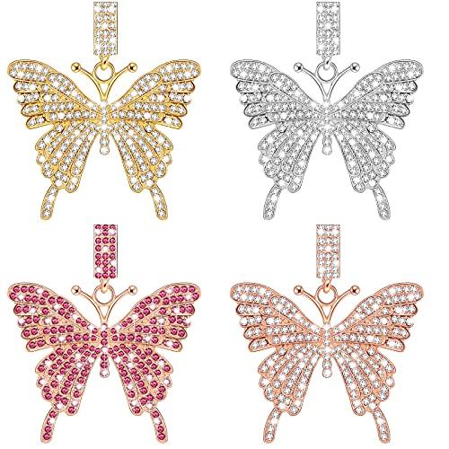 4 piezas de diamantes de imitación de mariposa de cristal colgantes de mariposa colgantes de mariposa accesorios gargantilla collares colgantes para joyería DIY pulseras cadena mujer niña